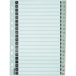 OfficeMax Index Dividers 20 Tab A-Z A4 Polypropylene Grey