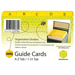 Marbig Guide Cards A-Z & 1-31 Tab 6x4 Inch 150x100mm