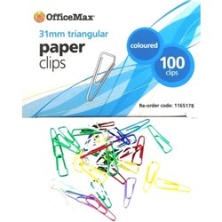 OfficeMax Paper Clips Triangle 31mm Coloured, Pack of 100