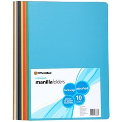 OfficeMax Manilla Folders Foolscap Assorted Colours, Pack of 10