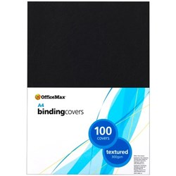 OfficeMax Leathergrain Textured Binding Cover 300gsm A4 Black, Pack of 100