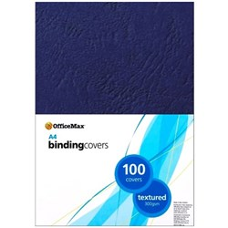 OfficeMax Textured Binding Covers A4 300gsm Blue, Pack of 100
