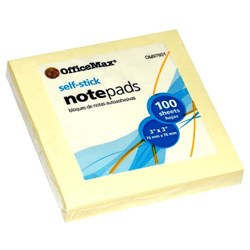 OfficeMax Self-Stick Notes 76x76mm Yellow 100 Sheets