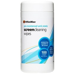 OfficeMax Anti-Static Screen Cleaning Wipes, Tub of 100