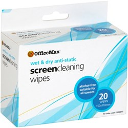 OfficeMax Wet & Dry Screen Anti-Static Wipes, Pack of 20