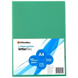 OfficeMax L-Shaped Pockets A4 Green, Pack of 10