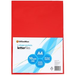 OfficeMax L-Shaped Pockets A4 Red, Pack of 10