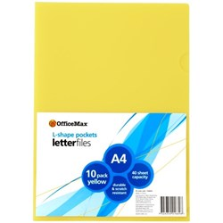 OfficeMax L-Shaped Pockets A4 Yellow, Pack of 10