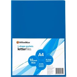 OfficeMax L-Shaped Pockets A4 Blue, Pack of 10
