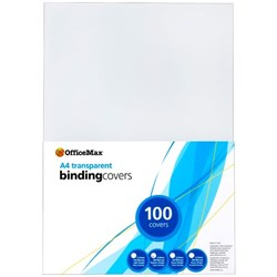 Officemax Transparent Binding Cover 200 Micron A4 Clear, Pack of 100