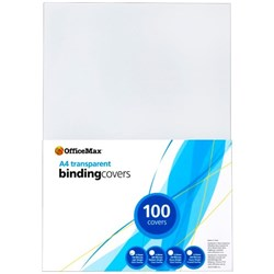 OfficeMax Transparent Binding Cover 150 Micron A4 Clear, Pack of 100