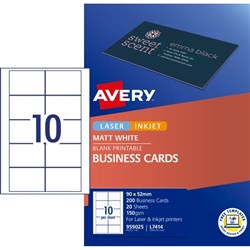 Avery Laser Inkjet Business Cards L7414 90 x 52mm 10 Per Sheet 200 Cards