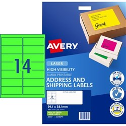 Avery High Visibility Shipping Laser Labels L7163FG Fluoro Green 14 Per Sheet