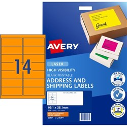 Avery High Visibility Shipping Laser Labels L7163FO Fluoro Orange 14 Per Sheet
