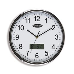 Carven Analogue Wall Clock LCD Date 285mm