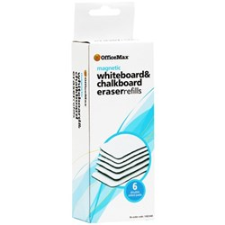 OfficeMax Magnetic Whiteboard Eraser Felt Refills, Pack of 6