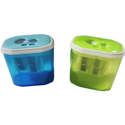 Pencil Sharpener Assorted Colours Container Auto-lock 2-Hole