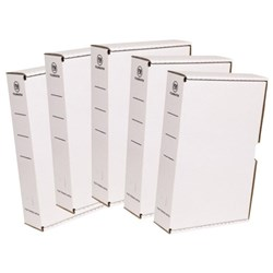 FM Storage Boxes File Foolscap White, Pack of 5