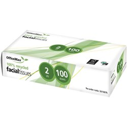OfficeMax Eco Facial Tissue 100% Recycled 2 Ply, Pack of 100