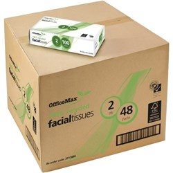 OfficeMax Eco Facial Tissue 100% Recycled 2 Ply, Carton of 48 Packs