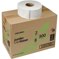 OfficeMax Eco Toilet Tissue 100% Recycled Jumbo Roll 2 Ply 300m, Carton of 8 Rolls