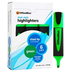 OfficeMax Green Desk Style Text Highlighters Chisel Tip, Pack of 6