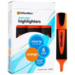OfficeMax Orange Desk Style Text Highlighters Chisel Tip, Pack of 6