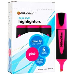 OfficeMax Pink Desk Style Text Highlighters Chisel Tip, Pack of 6