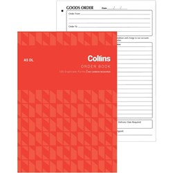 Collins A5DL Order Book NCR Duplicate Set of 100
