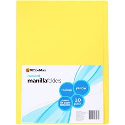 OfficeMax Manilla Folders Foolscap Yellow, Pack of 10