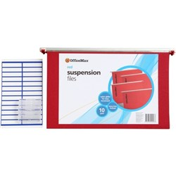 OfficeMax Suspension Files Foolscap Red, Pack of 10