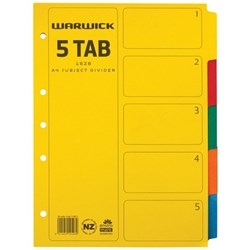 Warwick Student Index Dividers 5 Tab A4 Cardboard Coloured