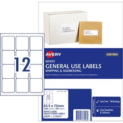 Avery General Use Labels DL12 L7164 12 Per Sheet