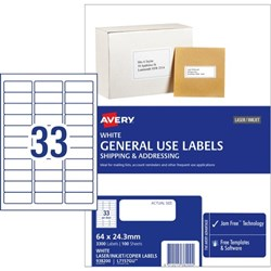 Avery General Use Labels L7157 33 Per Sheet
