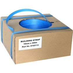 Builders Plastic Hand Strapping in a Dispenser Box 19mmx300m Blue