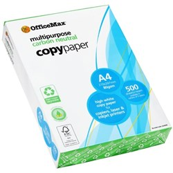 OfficeMax A4 80gsm Carbon Neutral White Copy Paper, Pack of 500