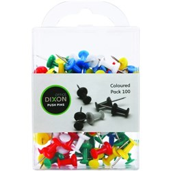 Dixon Push Pins Assorted Colours, Pack of 100
