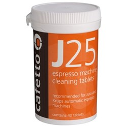 Cafetto J25 Coffee Machine Cleaning Tablets, Pack of 40