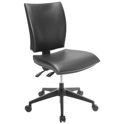 Edge Chair Mid Back 3 Levers Black Leather
