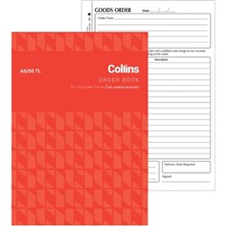 Collins A5/50TL A5 Order Book NCR Triplicate Set of 50