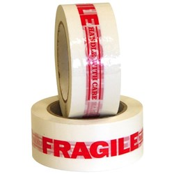 Fragile Handle With Care Message Tape 48mm x 100m Red on White