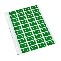 Codafile Numbers 1 Labels 162501 25mm Dark Green, Sheet of 40