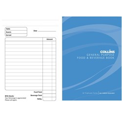 Collins Food & Beverage Docket Book 148x100mm NCR Triplicate Set of 50