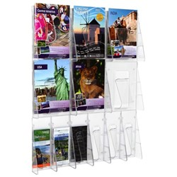 Stand Tall Brochure Holder Wall Rack A4 & DLE 12 Pockets