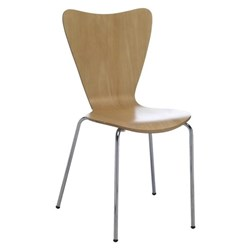 Bindi Cafe Chair Chrome Legs Woodgrain