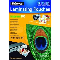 Fellowes A3 Laminating Pouches Gloss 100 Micron, Pack of 100