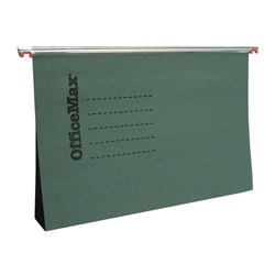 OfficeMax Suspension File Double Capacity Foolscap Green, Pack of 10