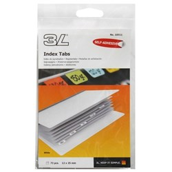 3L Index Tabs White 72 Tabs