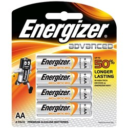 Energizer E2 Advanced AA Batteries, Card of 4