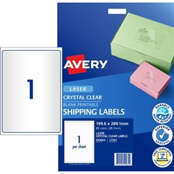 Avery Crystal Clear Shipping Laser Labels L7567 1 Per Sheet
